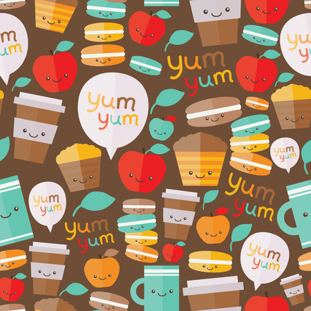 macaroon: Cute food seamless pattern. Vector image. Cupcake and macaroon