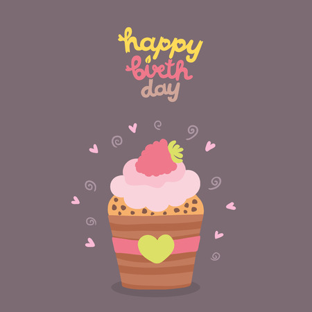 Happy Birthday card background with cupcake. Vector holiday party template Vector