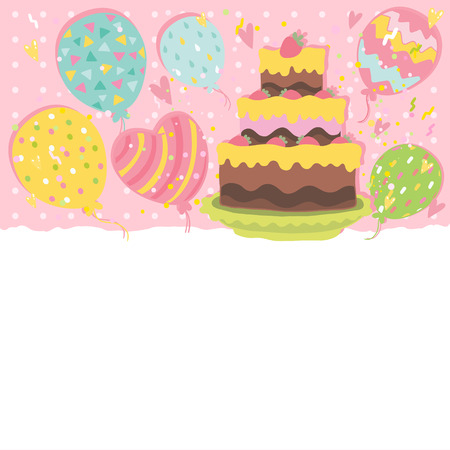 Happy Birthday card background with cake. Vector holiday party template Vector