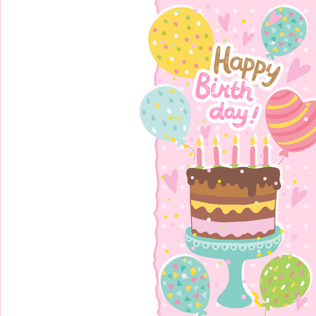 Happy Birthday card background with cake. Vector holiday party template Illustration