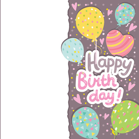 Happy Birthday card background with balloons. Vector holiday party template Vector