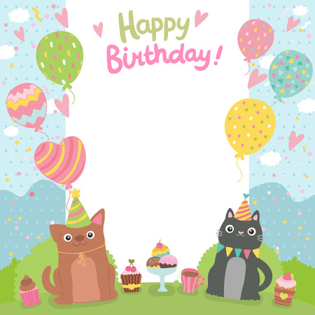 Happy Birthday card background withdog and cat. Vector holiday party template Illustration