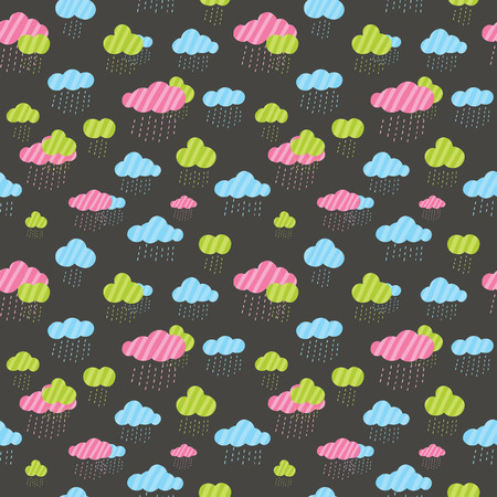 Cute rainy clouds seamless pattern. Image for your wallpaper, background or wrapping paper and textile fabric. Vector