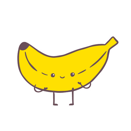 cute cartoon banana character illustration. Vector image
