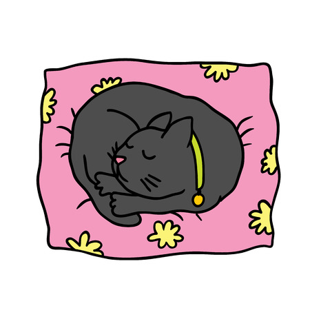 sleeps: Cute doodle cat sleeps on the pillow. vector image Illustration