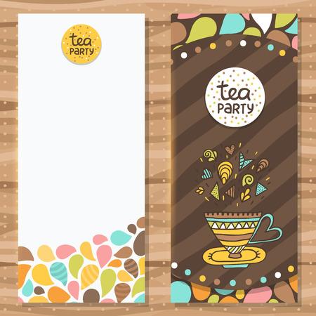 tarde de cafe: Modelo del folleto del partido del té. Diseño lindo flyer. Vector de imagen. Vectores