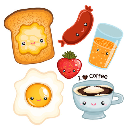 cute breakfast food - toast, egg, coffee, strawberry, juice and sausage