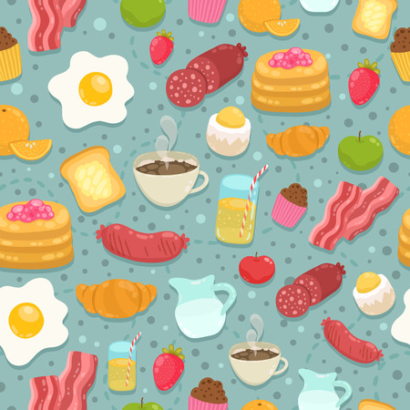 eggs and bacon: Cute seamless pattern with breakfast food - coffee, eggs, bacon, sausage Illustration