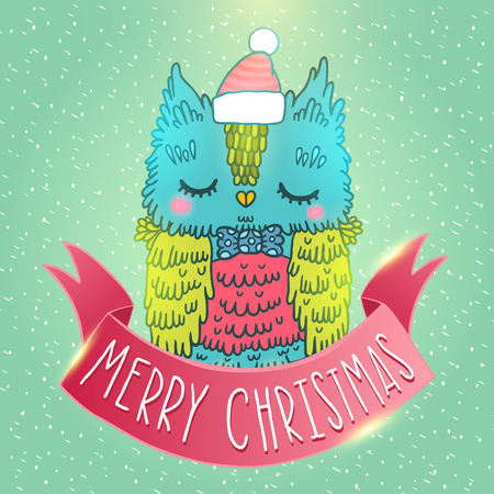 Merry Christmas greeting card background with an owl. Holiday vector illustration Vector