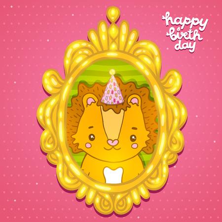lion baby: Buon compleanno biglietto di auguri sfondo con un leone bambino. Illustrazione vettoriale