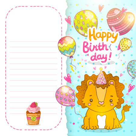 lion baby: Buon compleanno sfondo cartolina con un leone bambino. Illustrazione vettoriale