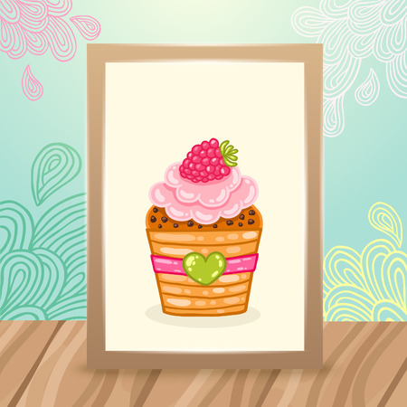 Wood frame on the desk with doodles and cupcake. Vector