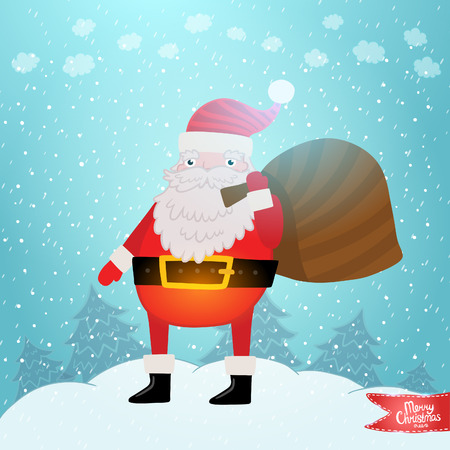 Santa Claus with gift bag. Christmas background