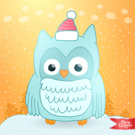 Merry Christmas greeting card background with an owl. Holiday illustration Illustration