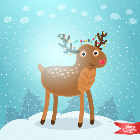 Merry Christmas greeting card background with deer. Holiday illustration