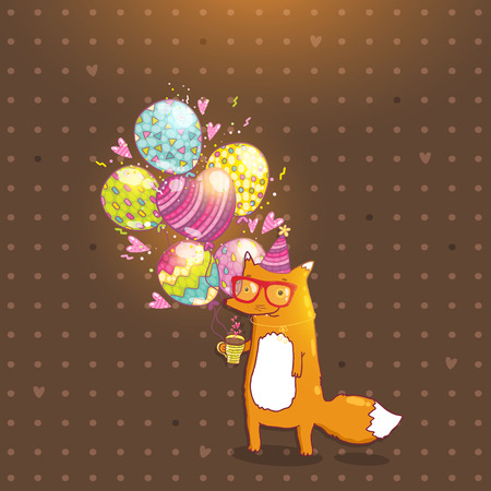 Happy Birthday card background with cute cartoon hipster fox. holiday party template. Greeting postcard image. Vector