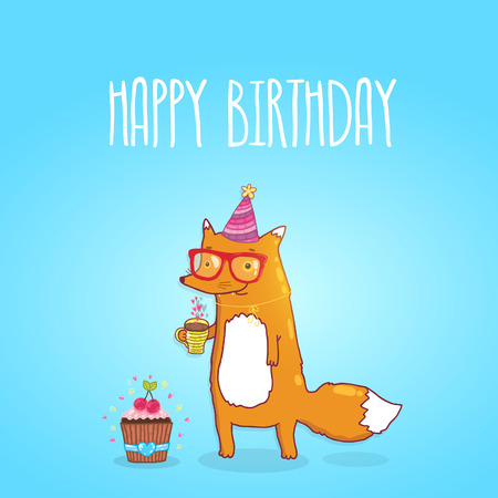 Happy Birthday card background with cute cartoon hipster fox. holiday party template. Greeting postcard image.