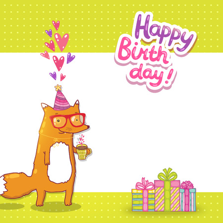 Happy Birthday card background with cute cartoon hipster fox Иллюстрация