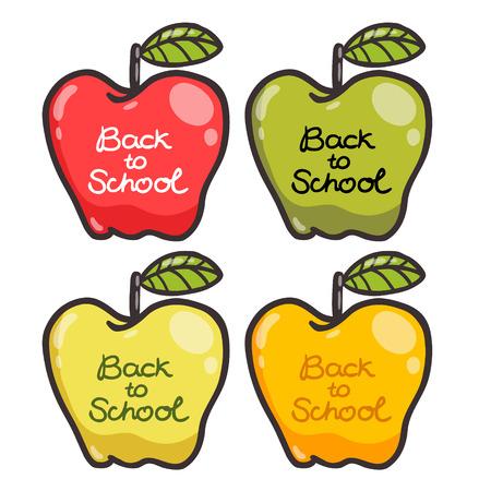 Cute cartoon apples. Back to school illustration