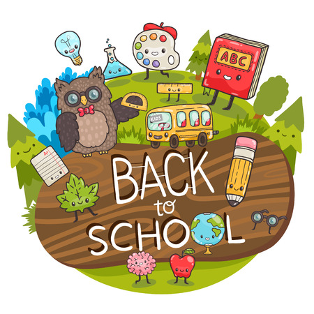 cartoon characters. Back to school background.