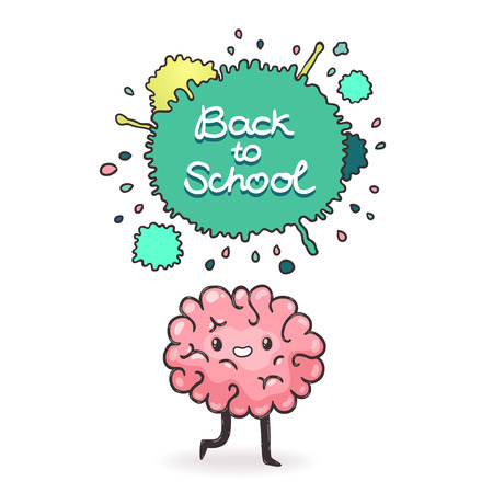 Cute cartoon brain. Back to school background Vector