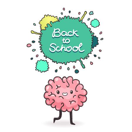 Cute cartoon brain. Back to school background