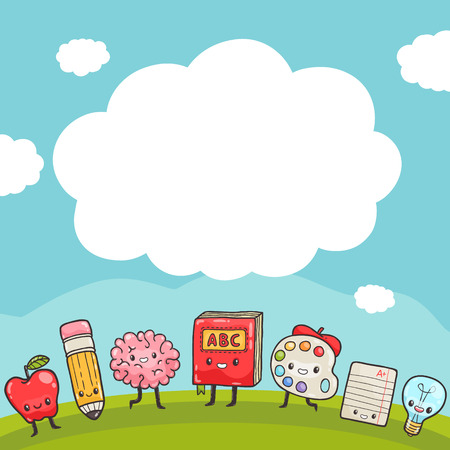 book background: Cute cartoon characters. Back to school background