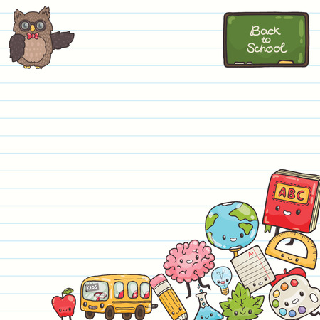 Cute cartoon characters. Back to school background