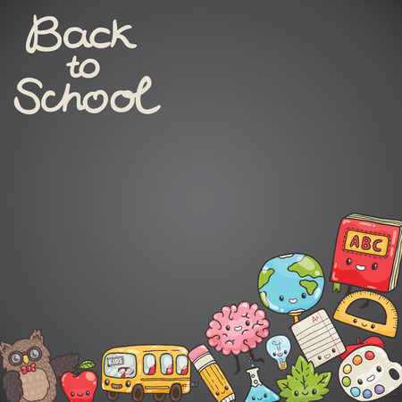 school background: Cute cartoon characters. Back to school background