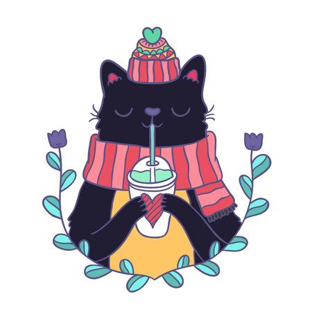 cute cartoon Merry Christmas card with cat
