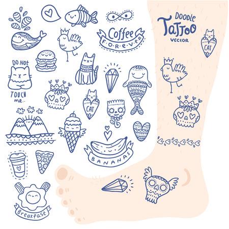 coeur diamant: main mignon de bande dessin�e doodle dessin� tatouage jeu