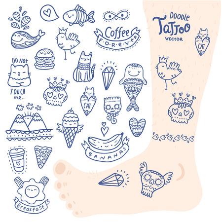cute cartoon hand drawn doodle tattoo set