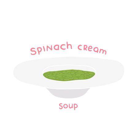 spinat: Cartoon Hand gezeichnet Spinatcremesuppe