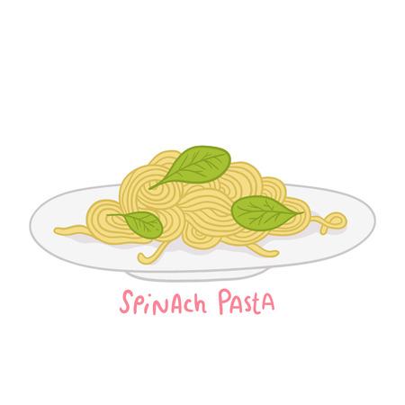 spinach: cartoon hand drawn spinach pasta