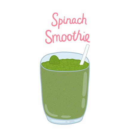 smoothie: vector cartoon hand drawn spinach smoothie illustration