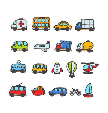 trolleybus: cartoon hand drawn transport icon set