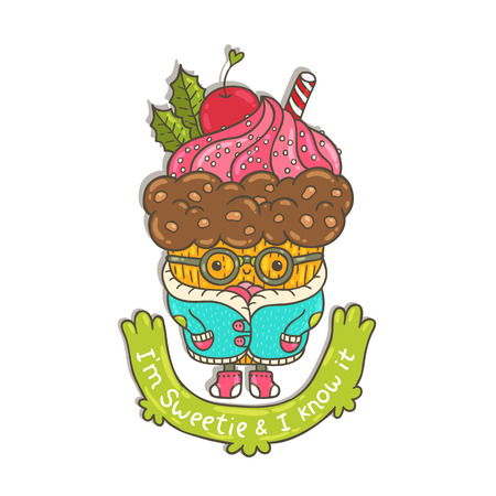 Merry Christmas Cupcake character Illustration