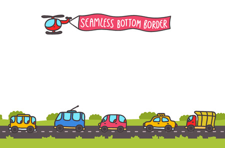 Cute cartoon hand drawn transport bottom seamless border with road and traffic.