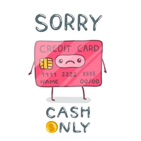 e cash: cute cartoon hand drawn credit card character. Illustration