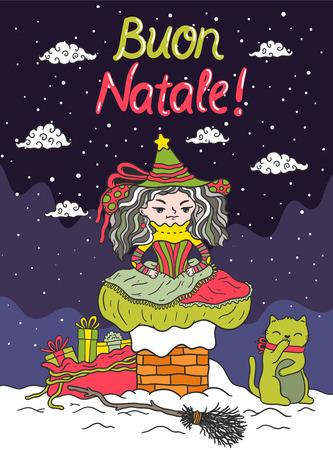 italian tradition: Italian Santa Claus - Befana Illustration