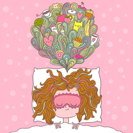 cartoon lips: abstract illustration about girl dreams and wishes Illustration