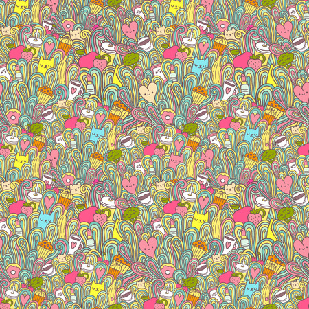 seamless pattern about girl dreams and wishes