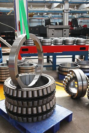 Manufacture of bearings in the factory.The chrome surface of products. Industrial theme. Production of bearings.Photos on the factory's territory