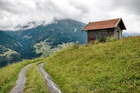 tirol: Lonely house in Austria Mountains (Tirol) Stock Photo