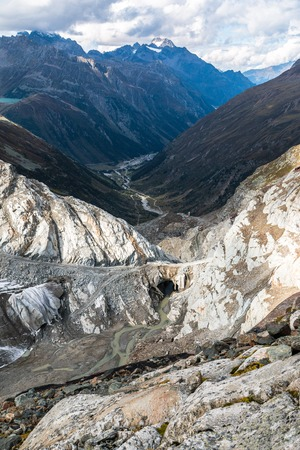 View from the top of Pitztal glacier in Austria Stock Photo