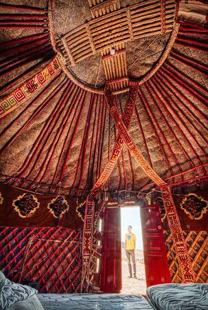 View from the inside of a yurt, Uzbekistan