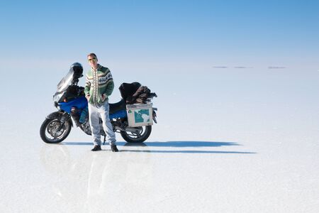Travel by motorcycle in Salar de Uyuni Bolivia