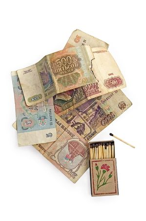 restructuring: Money is the Soviet Union and the restructuring of matches on a white background Stock Photo