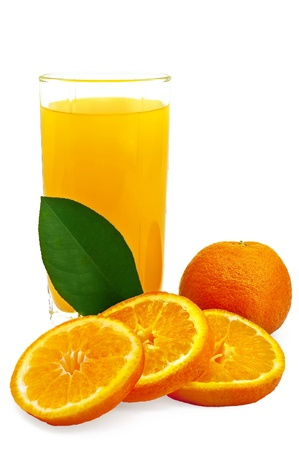Juice in a glass, a mandarin orange, tangerine slices and green leaf isolated on white background Stock Photo - 8989071