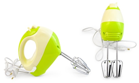 Green with white mixer from two angles - side and front - isolated on white background photo